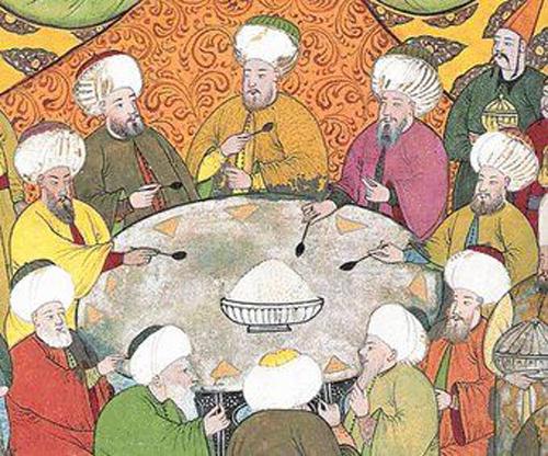 Osmanlı sofrasına ait bir minyatür