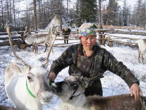 Dukha-woman-with-her-reindeer