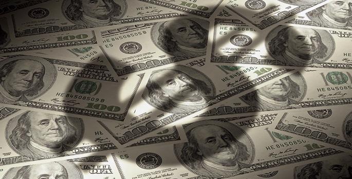 american dollar symbol on money background