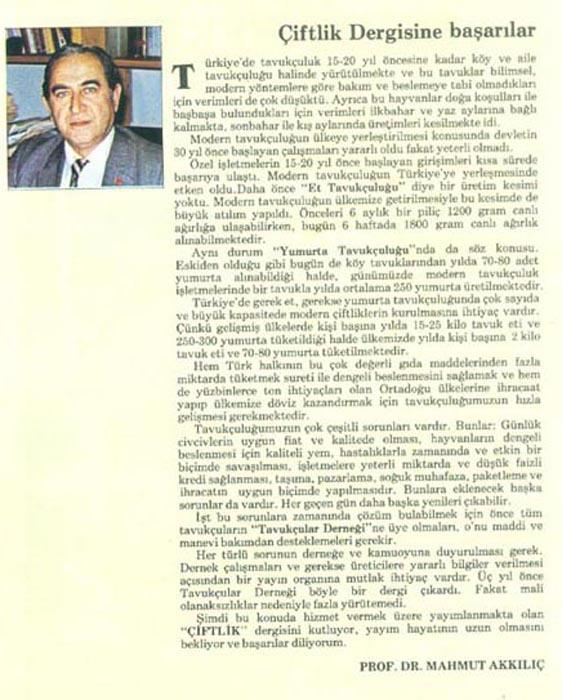 Mahmut Akkılıç'ın başyazısı Çiftlik Dergisi