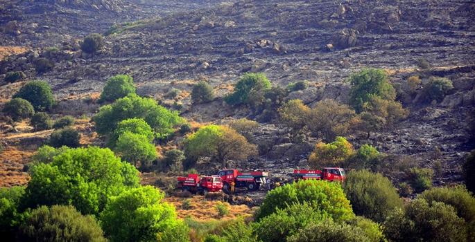 Muğla'nın Bodrum ilçesinde makilik ve otluk alanda çıkan yangın, kontrol altına alındı. Sabahın ilk ışıklarıyla bir yangın söndürme uçağı ve 3 helikopterin yanı sıra 5 iş makinesi, 30 arazöz ve 200 yangın söndürme işçisi de çalışmalara katıldı. Çalışmalar sonucu yangın kontrol altına alınırken, soğutma çalışmalarına başlandı.Yerleşim yerlerinin yakınlarına kadar ulaştığı gözlenen yangında, yaklaşık 250 hektarlık makilik alanın zarar gördü. ( Durmuş Genç - Anadolu Ajansı )