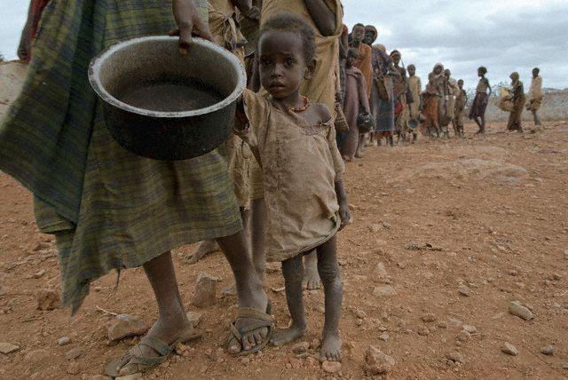 Somalians Waiting in Line for Food 1992 Baidoa, Somalia
